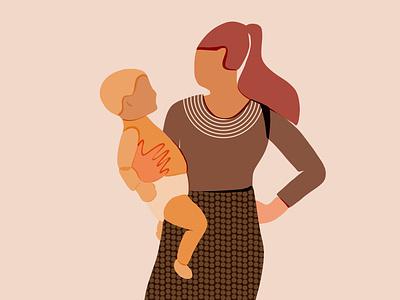 Mom and baby mom art modern illustration