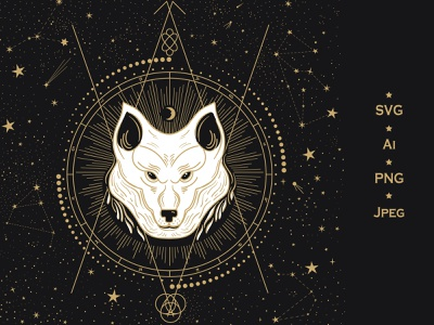 Animal Totem. Wolf shamanism ancient gold line art night sky gold starry sky vibes oscillations vibrations power geometry sacred pet animal constellation