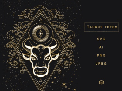 Taurus Totem. SVG, Ai, PNG, Jpeg magic mystic golden calf horoscope animal stars calf constellation bull head constellation geometry sacred astrology fertility moon symbol cow bull