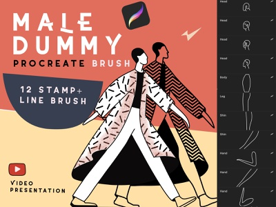 Procreate brushes Male Dummy people  brushes people  brushes stamps brushes figures brushes brushes for portrait guide brushes