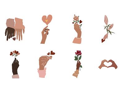 Hand and Heart  illustration love hands heart hand modern
