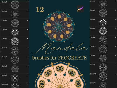 Mandala brushes for Procreate procreate app ipad pro brush ipad pro brushes ipad pro calligraphy ipad pro lettering digital brush procreate stamp procreate brushes procreate brush