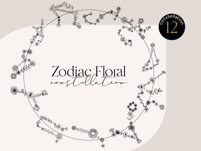Zodiac floral constellation gold abstract print art esoteric mystic circle logo earth floral zodiac  sacred geometry flower aries stencil birthday shirt flower zodiac aries sign astrology horoscope wild flower aries floral aries flower aries april birthday zodiac birthday constellation