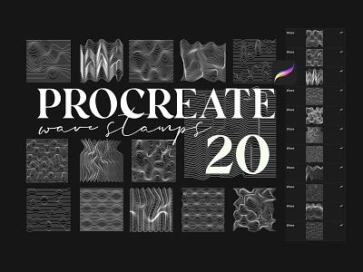Procreate Wave line Stamps 2d 3d