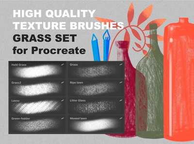 Procreate texture brushes. GRASS SET