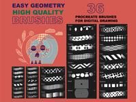 """Procreate """"Easy Geometry"""" digital drawing brushset           000"""