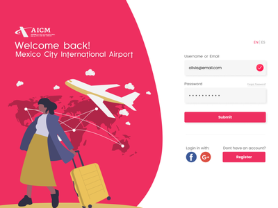 UI Challenge - A Login Page for a Mexican Airport ux sign up log in design web ui