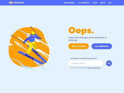 404 Page for a Ski Shop web ui design 404 error page 404 error 404 page 404