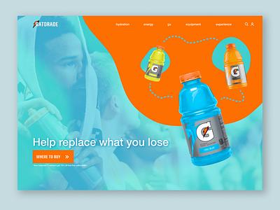 🏃♀️💨 Gatorade Marketing Page Design blue orange sports design sports drinks gatorade marketing page landing page design challenge challenge branding web ui design