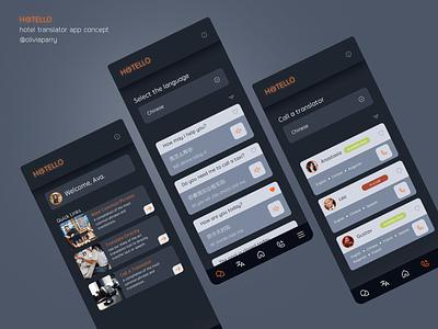 Hotello - A translation app for hotels 🏨🛌 hotel app translate translator app mobile ui mobile design mobile translation hotel challenge design challenge branding ui design