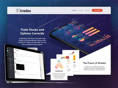 Xtrades Hero Parallax Elements hero section parallax trading stocks web design ui ux app design website