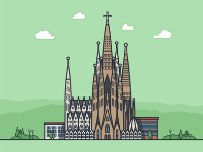 Completed Sagrada Familia, Barcelona, Spain sagrada familia barcelona spain after effects animation architecture gif motion graphics city clouds tree building