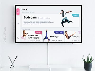 Daily UI 025 TV app workout app design fitness app workout app workouts daily ui 025 dailyui 025 tv app design tv app app design daily ui dailyuichallenge dailyui