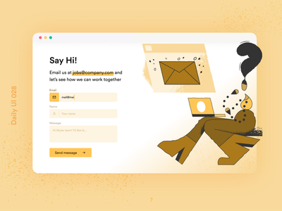 Daily UI 028 Contact form illustration daily ui challenge email us contact page web contact dailyuichallenge daily contact ui contact form ui contact contact form dailyui 028 daily ui 028 daily ui dailyui