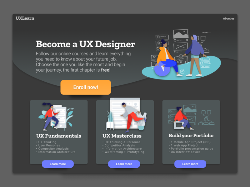 Daily UI 003 — Landing Page illustration design figma cta enrollment course ux courses uidesign uxdesign ui ux humaaans landing design landing page design landing page dailyui 003 dailyui