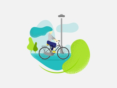 Cycling Woman Flat Illustration