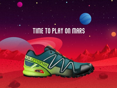 Salomon Track Trainers ad vector artwork shoe sun saturn sport trainers shoes sneakers space planet mars drawing illustration vector