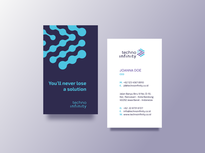 Techno Infinity - Business Card Design colateral brand identity branding business card design blue