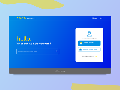 ABCD Helpdesk Landing Page ui design yellow blue blue and yellow helpdesk landing page