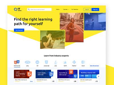 It School Landing page (plus courses) content design web ui design