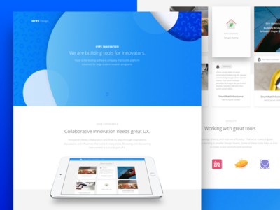 Hype Design innovation software cards tools landing page hr hiring design-team hype