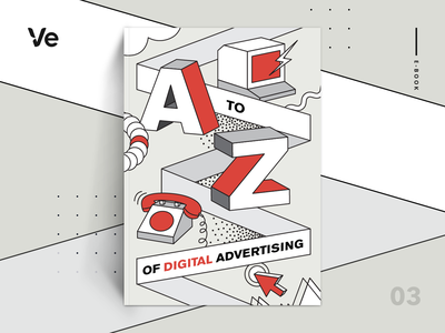 eBook cover - The A to Z of Digital Advertising web branding ecommerce graphic graphic design book guide a to z display ads digital advertising typography block letters cartoon illustration artwork magazine cover book cover cover art resource ebook