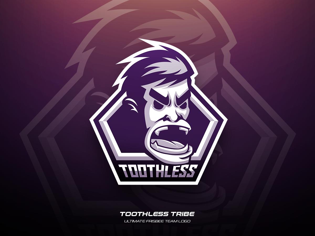 Toothless Tribe vector ultimate team sports illustration logo frisbee design branding