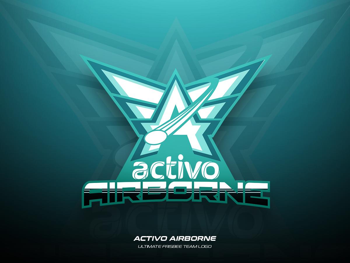 Activo Airborne vector ultimate team sports logo frisbee design branding