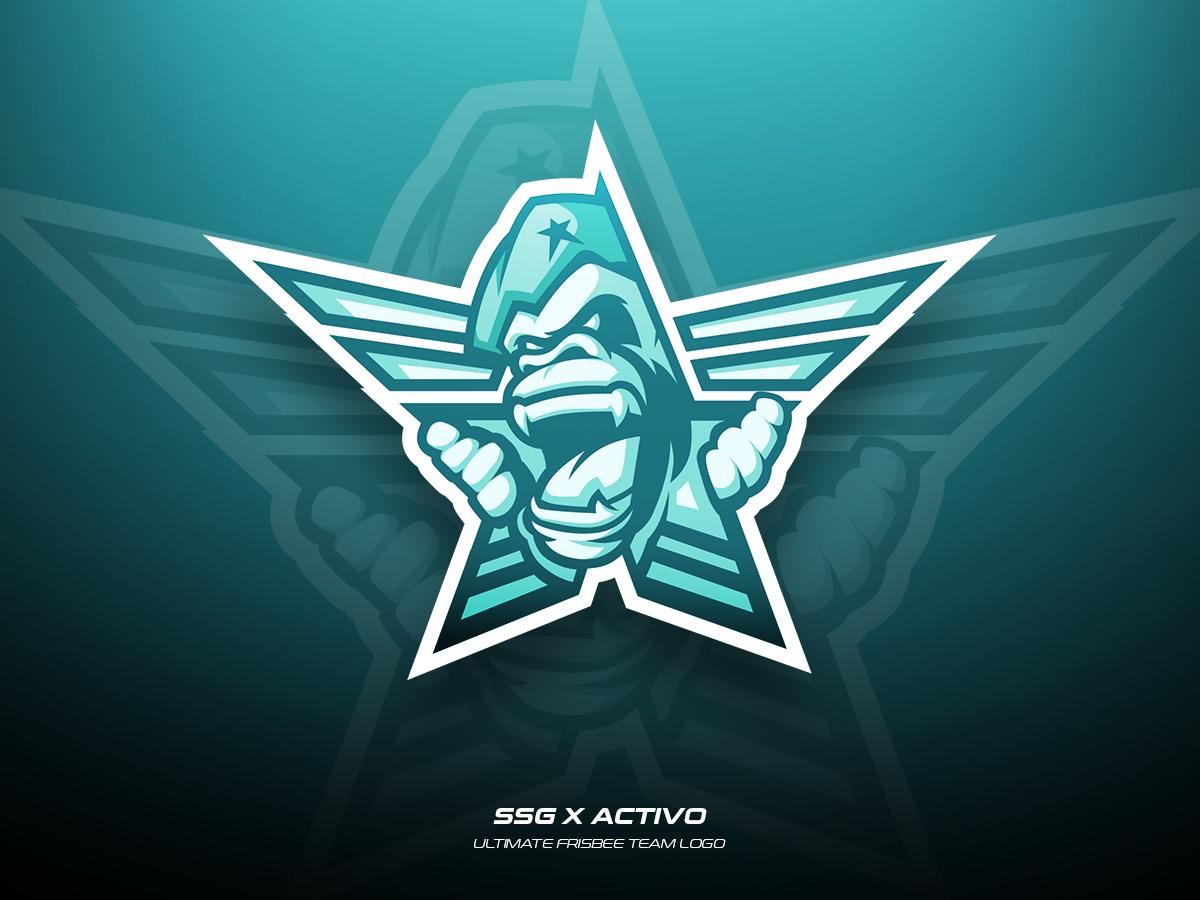 SSG x Activo vector ultimate team illustration sports logo frisbee design