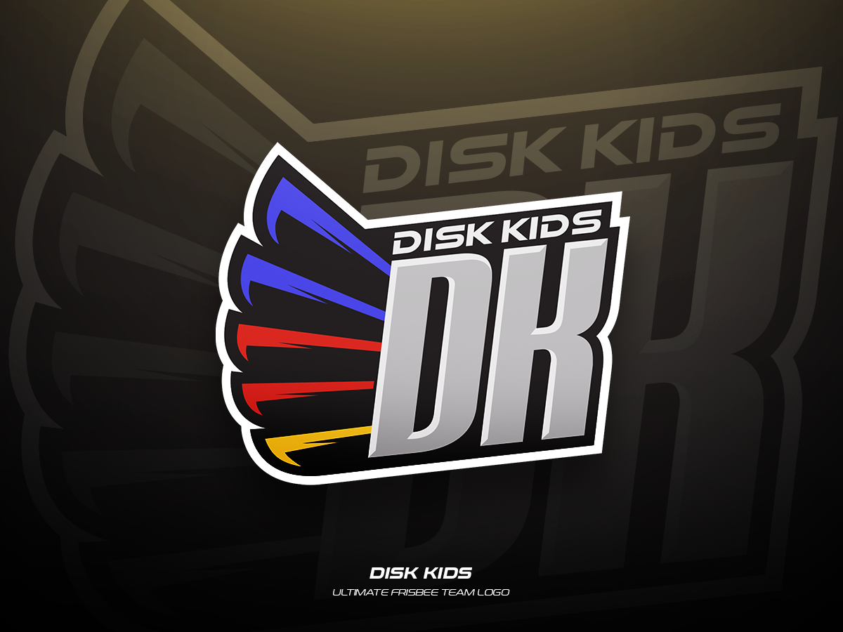 Disk Kids team frisbee ultimate sports illustration branding vector logo design