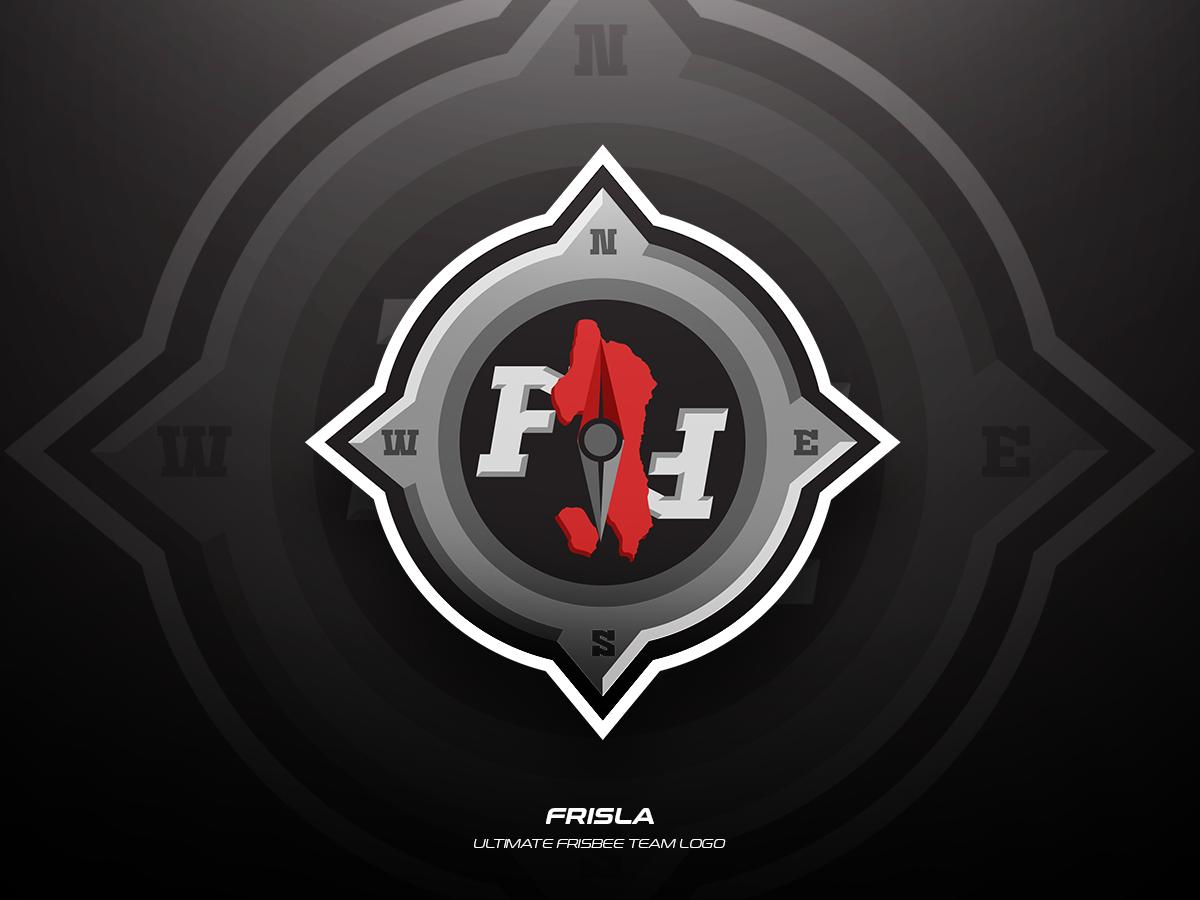 Frisla team frisbee ultimate sports illustration branding vector logo design