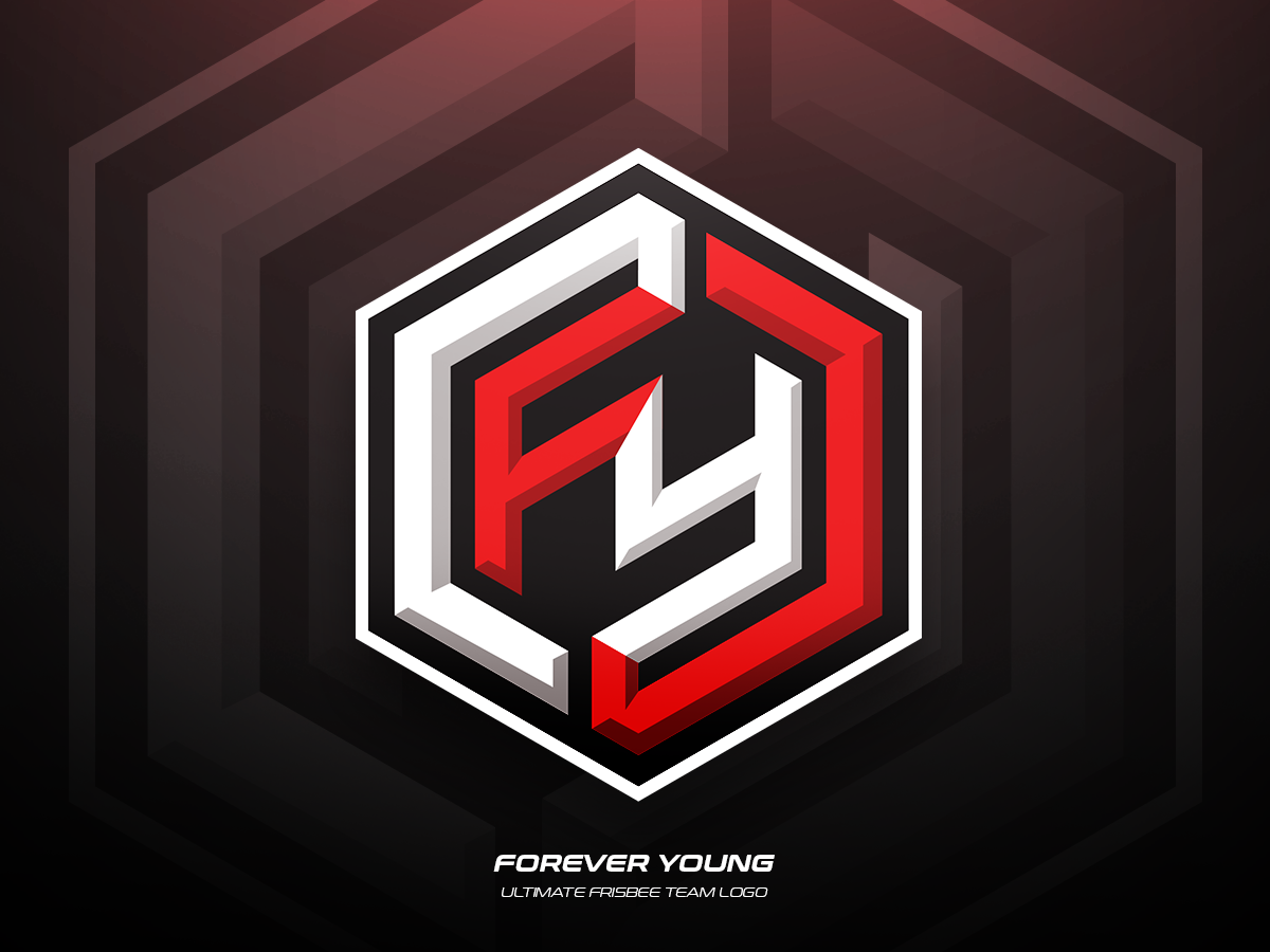 Forever Young team frisbee ultimate sports illustration branding vector logo design