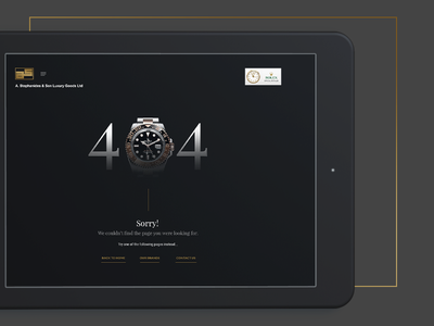 Stephanides Luxury Goods - 404 Page Design effect parallax animated video jewllery shop class style minimal dark fashion glamnour luxury elegant black watch 404 error page 404 error 404 page 404