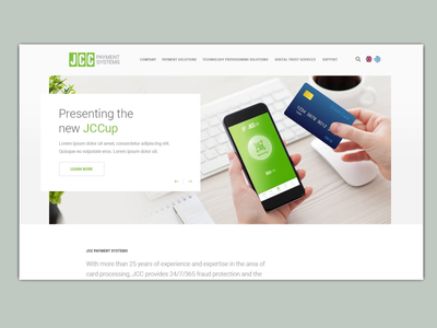 Animated concept design for JCC Payment Systems clean white slider scrolling scroll animation demo design concept corporate elegant parallax animated web design
