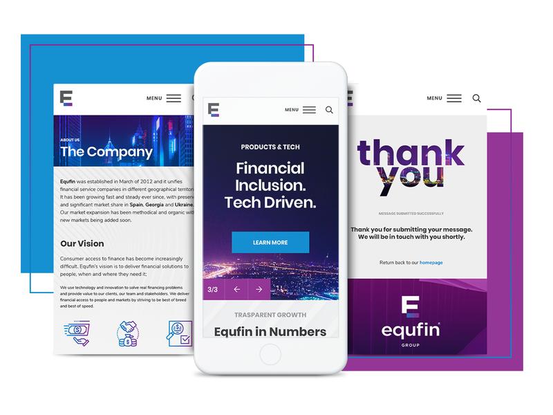 Equfin - Web Design & Web Development parallax sidemenu tech fintech forex corporate business custom modern financial video colourful website design web animated web design