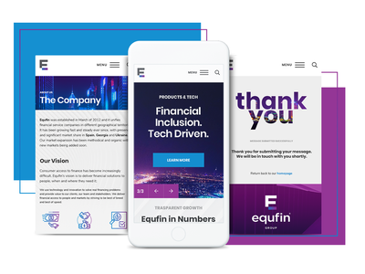 Equfin - Web Design & Web Development parallax sidemenu tech fintech forex corporate business custom modern financial video colourful website design web animated web design