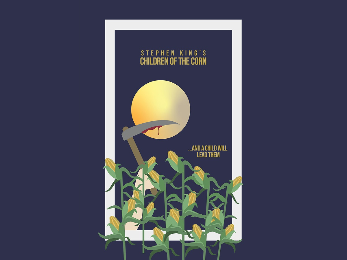 Children of the Corn poster simplistic minimal moon corn stephen king horror art horror movie horror new vector beginner pen tool design illustration creative cloud adobe illustrator