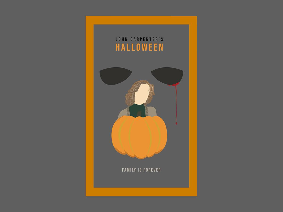 Halloween simplistic minimal pumpkin halloween horror movie horror horror art new vector beginner pen tool design illustration creative cloud adobe illustrator