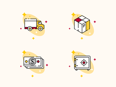 Icons red website redesign e-commerce yellow illustration icon set icons graphic design