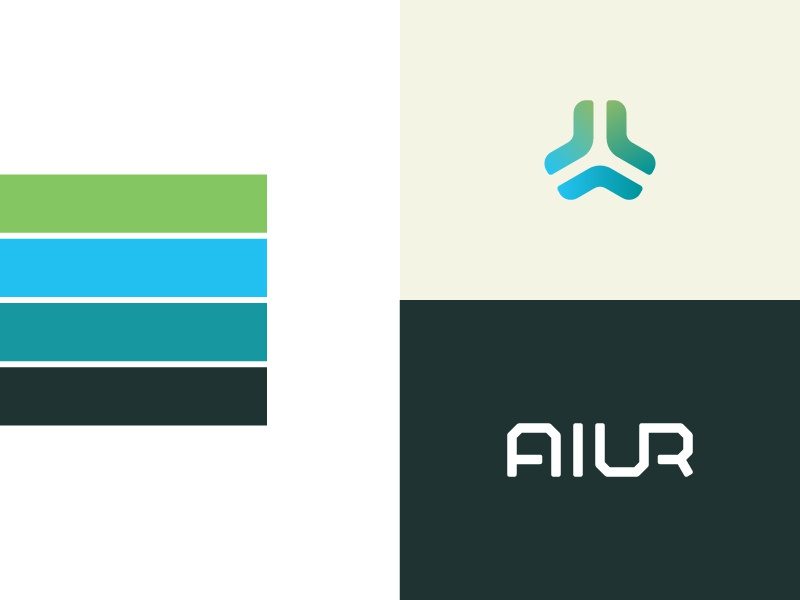 Aiur Identity graphic design identity logo green blue logotype logo mark