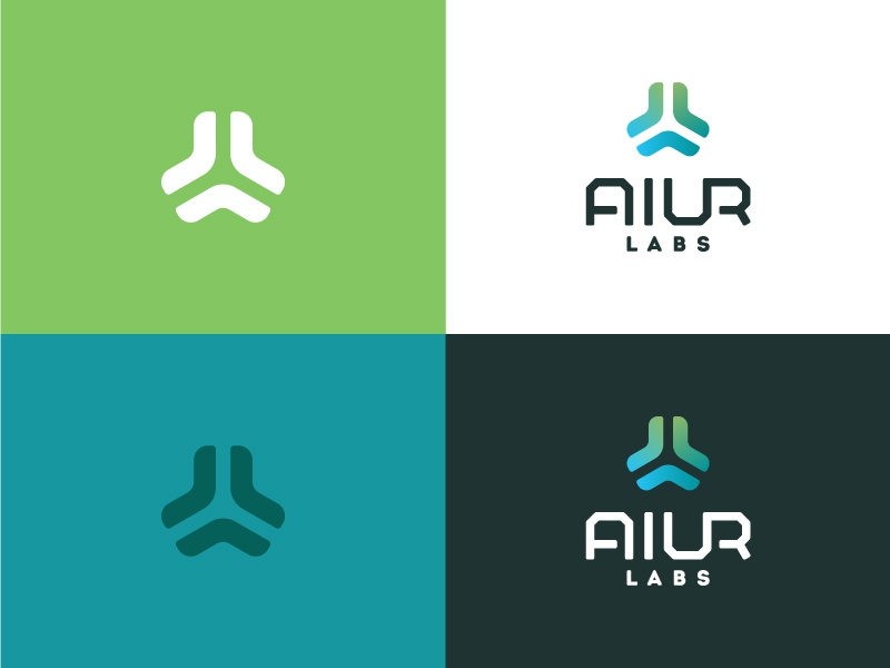 Aiur Identity graphic design identity logo green blue logo mark symbol
