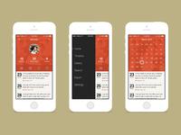 Profile, menu and calendar screens