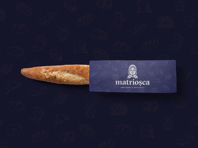 Matriosca Baguette Bag bakery pattern blue logo identity bread bag packaging graphic design