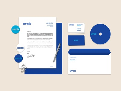 Technical University of Civil Engineering Bucharest corporate stationery blue university type studio identity logo graphic design