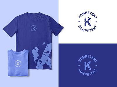 Kompetent Identity circle blue t-shirt proposal identity logo stamp letter graphic design