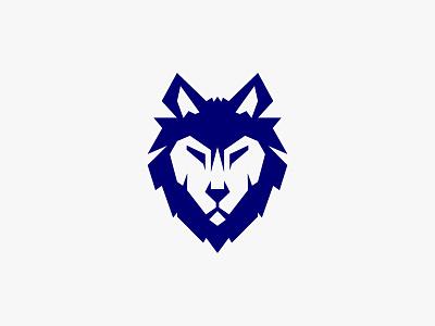 Wolf Head animal mark blue head symbol wolf graphic design