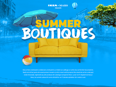 Summer Boutiques Home Page pitch blue yellow user interface digital web graphic design