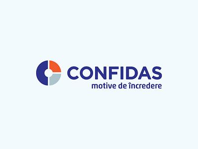 Confidas logo design orange blue identity logo graphic design