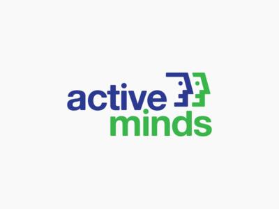Active Minds Logo Proposal face design identity green blue logo design graphic  design