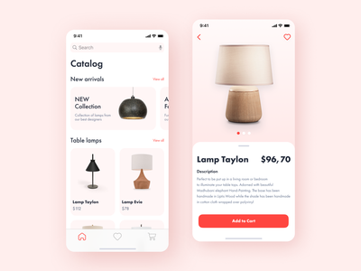 Lighting Online Store design ui interface interaction figma pink lamp ios product mobile uiux